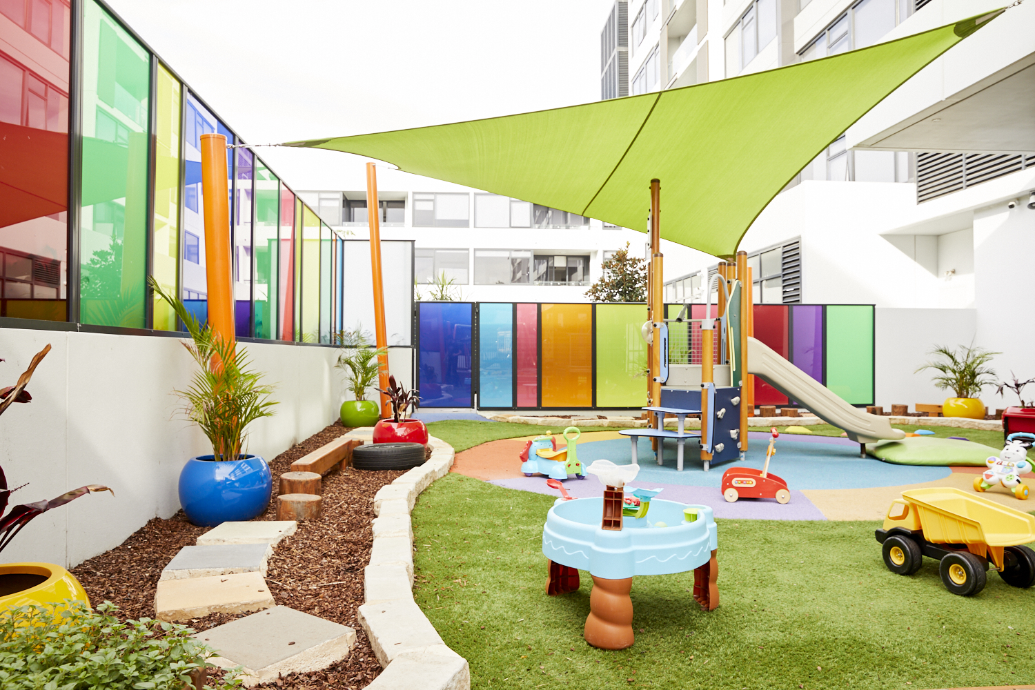 Outdoor childrens play area at Papilio Rosebery